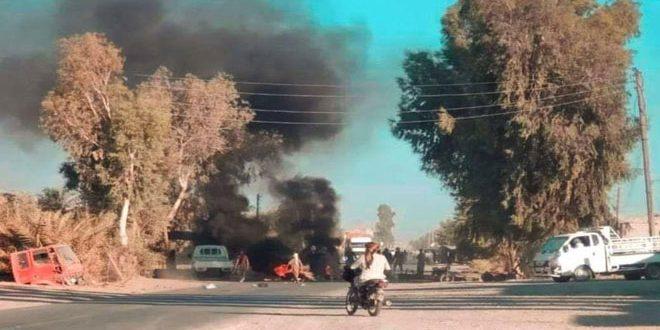تجدد الاحتجاجات ضد جرائم ميليشيا (قسد) المدعومة من الاحتلال الأمريكي بريف دير الزور