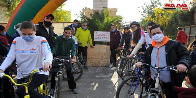 بمناسبة اليوم العالمي لهم.. افتتاح مسار خاص بالدراجات للأشخاص ذوي الإعاقة في شارع برنية بدمشق