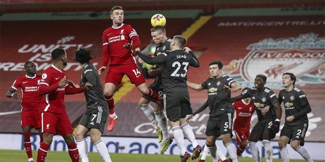 تعادل ليفربول ومانشيستر يونايتد في الدوري الإنكليزي لكرة القدم