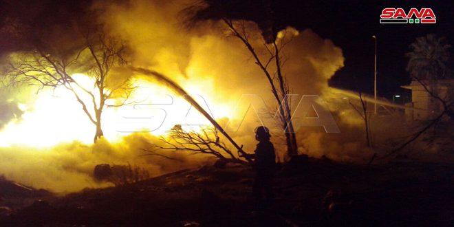 إخماد حريق اندلع جراء انفجار صهريج في الشركة السورية لنقل النفط الخام في حمص