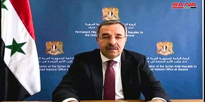 السفير آلا: التدابير القسرية التي تستهدف سورية غير أخلاقية