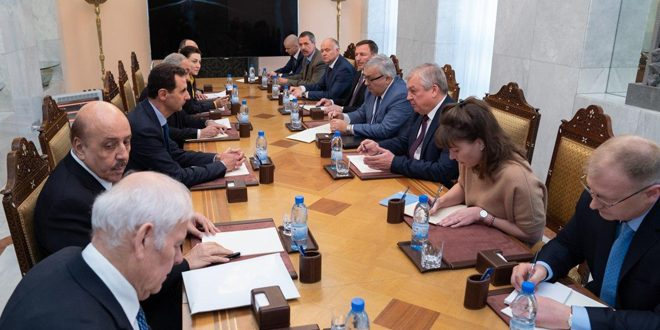 President al-Assad receives Lavreniev, Vershinin… talks deal with situation in Aleppo and Idleb