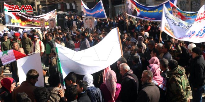 Citizens of BouKamal celebrate Army's victories in Aleppo and Idleb