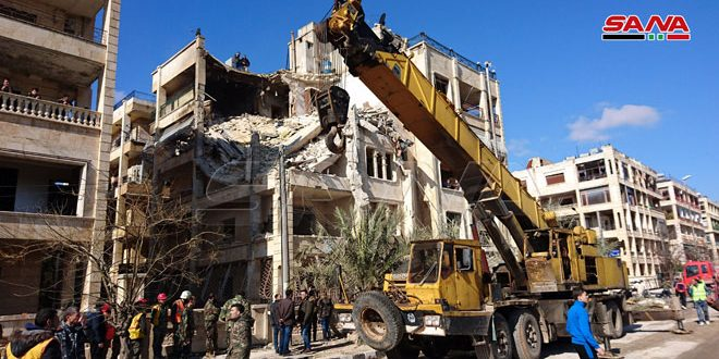 A partial building collapse due to terrorist rocket attack, Aleppo City