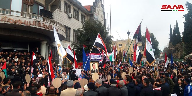 A mass popular gathering in Sweida in celebration of army's victories