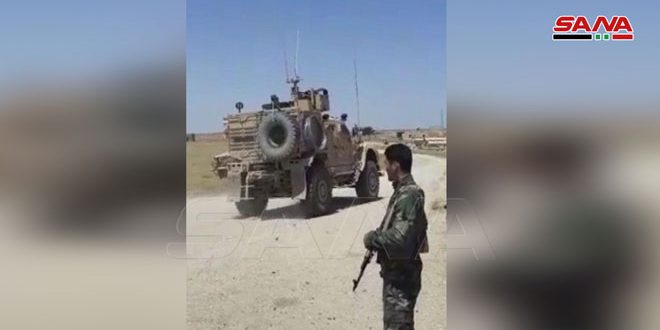Locals and army personnel intercept US occupation convoy in Hasaka countryside
