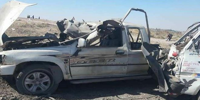 Update-Eight civilians martyred, seven injured in car bomb explosion near Grain Silos of Tal Halaf, Hasaka countryside