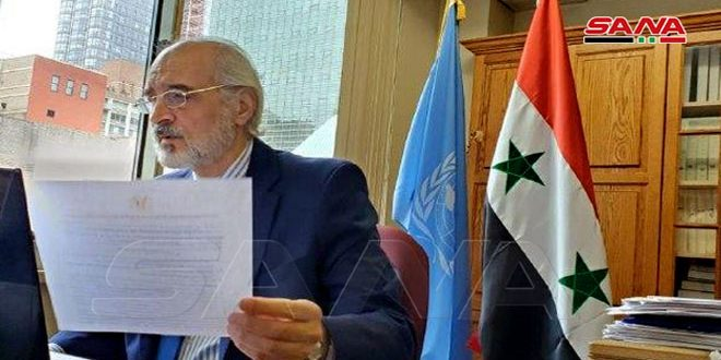 Al-Jaafari calls for lifting coercive measures on Syria which hinder tackling coronavirus, achieving development