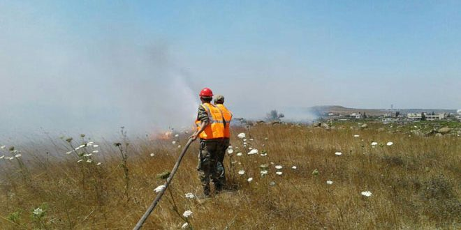 Extinguishing forestry fires in several areas of Homs countryside