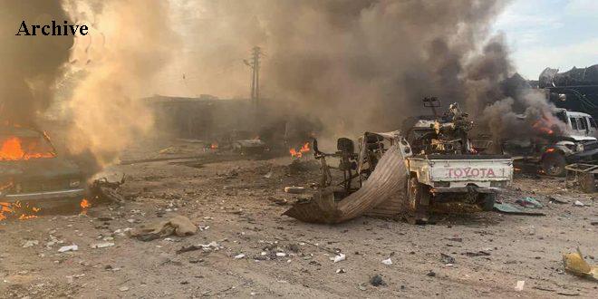 A number of Turkish regime mercenaries injured in a car bomb explosion near Ras al-Ayn in Hasaka countryside