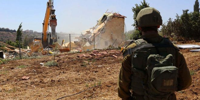 Israeli Occupation demolishes a Palestinian-owned house south of Bethlehem
