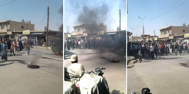 Demonstrations in al-Shaddadi in protest against QSD militia crimes