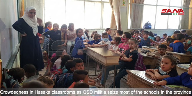 Crowdedness in classrooms… A suffering from the crime of QSD dominance of schools in Hasaka