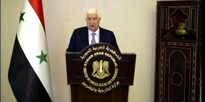 """Al-Moallem: So-called """"Caesar Act"""" targets Syrians in their livelihood… Syria will spare no effort to end US and Turkish occupation"""