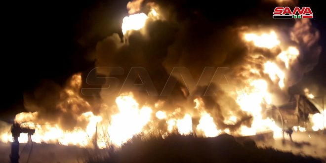 A tanker explosion in Syrian Company for Transporting Crude Oil in Homs