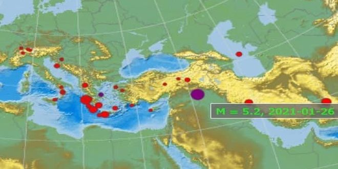 A 5.2 magnitude earthquake hits area on Syrian-Iraqi borders inside Syrian territory