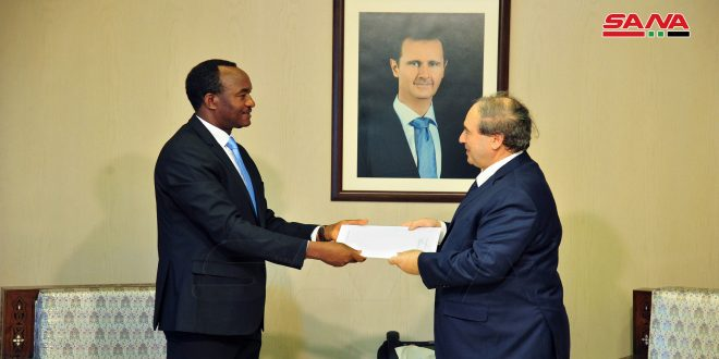 Mikdad receives credentials of Emmanuel Kalenzi responsible for coordinating projects of UNIDO in Syria