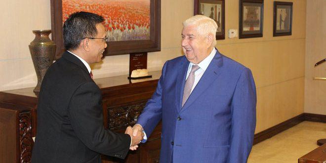 Canciller Al-Moallem recibe Copias de Estilo de Cartas Credenciales del nuevo embajador indonesio