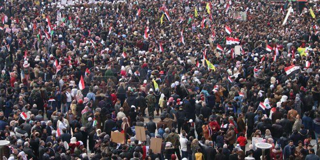 Masiva concentración en Alepo para celebrar las victorias del ejército sirio