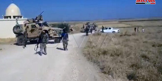 Soldados sirios interceptan un convoy del ocupante estadounidense en Hasakeh
