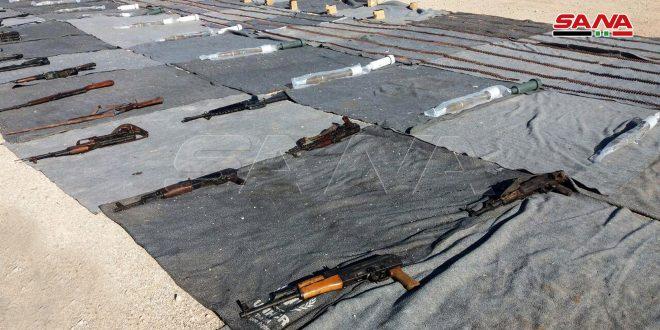 کشف سلاح و مهمات و داروها ساخت اسرائیل و غرب برجامانده از تروریستها در حومه های دمشق و قنیطره