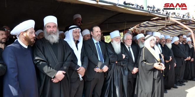 به دستور رئیس جمهور بشار اسد..وزیر عزامدرگذشت شیخ «راکان اطرش» را در سویداءتسلیت می گوید