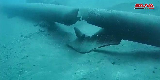 شروع به عملیات تعمیر و اصلاح خسارات ناشی از تخریبلوله های انتقال فرآورده های نفتی دریایی در شهر بانیاس +ویدیو