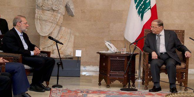 بررسی راه های تقویت روابط لبنان و ایران در دیدار عون با لاریجانی