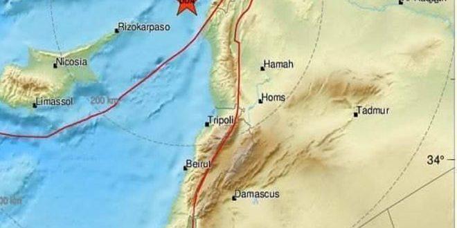 زمین لرزه ای به شدت ۴،۷ریشتر منطقه ساحلی سوریه را لرزاند