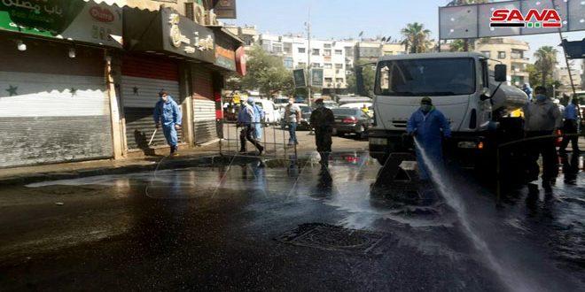 ضدعفونی خیابان ها و محله های شهر دمشق برای مقابله با ویروس کرونا