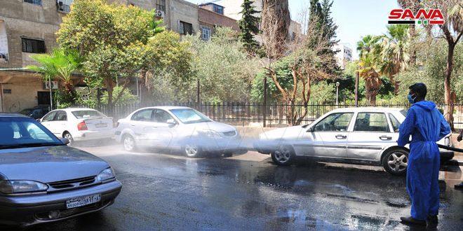 تداوم روند پاکسازی وضد عفونی شهر دمشق با هدف مقابله با ویروس کرونا