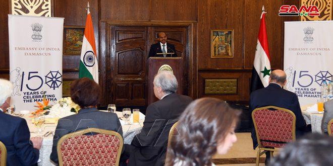 جشن استقبال در سفارت هند در دمشق به مناسبت تولد مهاتما گاندی