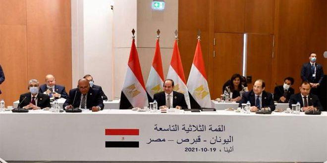 السیسی: مصر، قبرس و یونان از وحدت و تمامیت ارضی سوریه حمایت می کند
