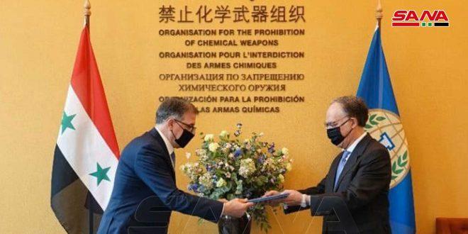 سفیر ميلاد عطيه استوارنامه خود را تحویل مدیر کل سازمان منع سلاحهای شیمیایی داد