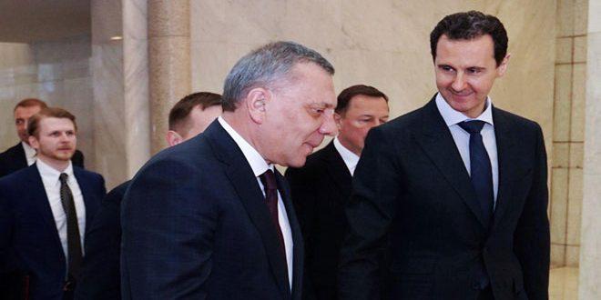 הנשיא אסד דן עם פוריסוב בשיתוף הפעולה בין סוריה לרוסיה בנוסף להסכמים שנחתמו