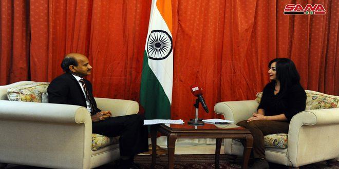 שגריר הודו בדמשק חזר על תמיכת ארצו בריבונות סוריה באחדות שטחיה, ובזכותה ללחום בטרור על כל צורותיו