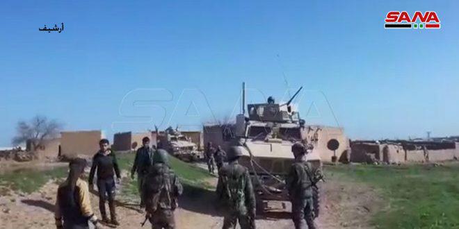 תושבי כפר חאמו והחיילים חסמו דרכה של שיירה לכוחות הכיבוש האמריקאי בפרבר אל-חסכה