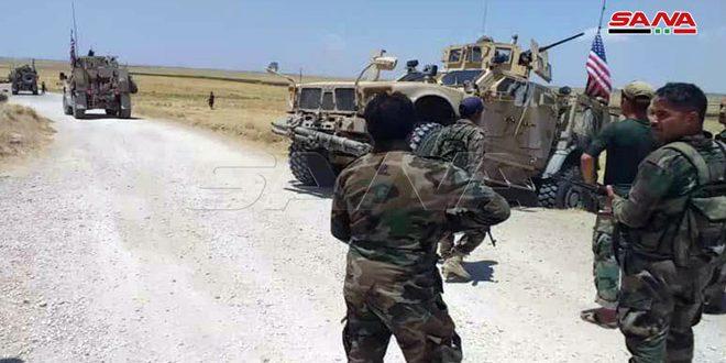 מחסומי הצבא מנעו רכיבים שייכים לכוחות הכיבוש האמריקאי בפרבר אל-חסכה המערבי מלעבור את החסמים