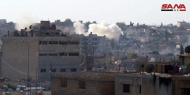 כוחות הכיבוש הטורקי ושכיריהם מהטרוריסטים מחדשים תוקפנותם נגד העיירה עין עיסא בפריפריה הצפונית של אלרקה