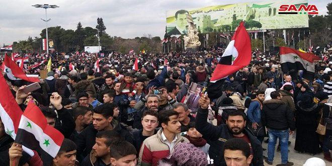 В Алеппо прошел массовый митинг в честь побед Сирийской армии