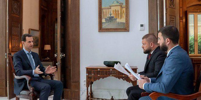Cumhurbaşkanı Esad Rusya 24 Kanalı ve Sivodnya Ajansı'na: Suriye'deki Amerikan Varlığı Amerikalılar Arasında Hasarlara ve Çıkmalarına Yol Açacak (VİDEO)