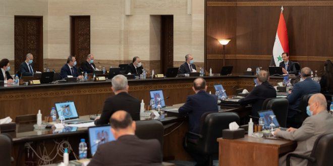 Cumhurbaşkanı Beşşar el Esad 3/3/2021 tarihli Bakanlar Kurulu toplantısına başkanlık ediyor