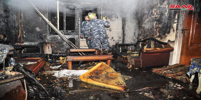 إخماد حريق في أحد المنازل بحي أبو رمانة-فيديو