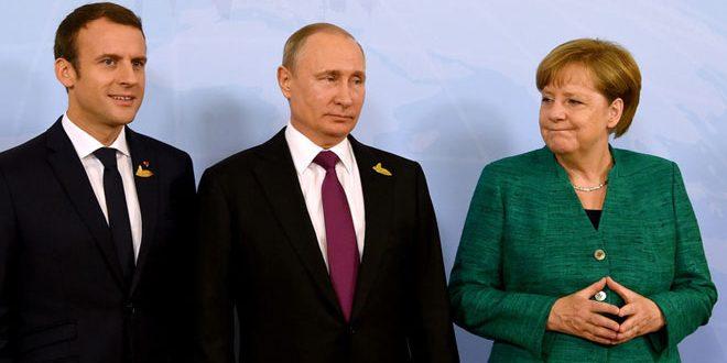 بوتين يبحث هاتفيا مع ميركل وماكرون الوضع في سورية