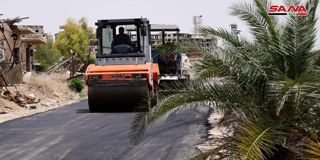 أعمال تزفيت الطريق الرئيسي القديم للغوطة الشرقية تسير بخطى سريعة تمهيداً لافتتاحه قريباً