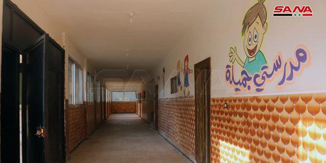 دير الزور.. وضع مدرسة للتعليم الأساسي بالخدمة بعد إصلاح الأضرار التي لحقت بها جراء الإرهاب