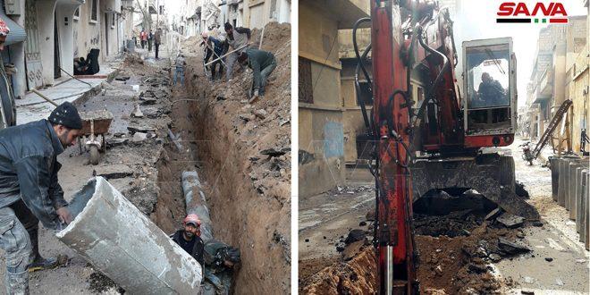 المباشرة بتأهيل شبكة الصرف الصحي في مدينة تدمر