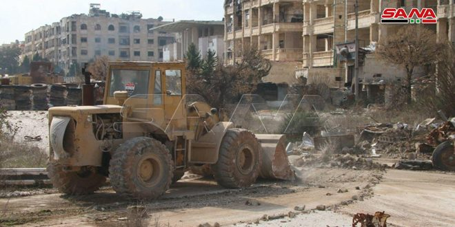 محافظة حلب تبدأ فتح الطرقات وإزالة السواتر الترابية من الشوارع في حي جمعية الزهراء