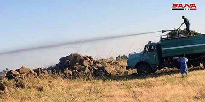 إخماد حريق في قرية كودنة بريف القنيطرة