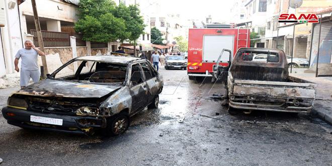 اندلاع حريق بسيارتين في حي شريتح بمدينة اللاذقية